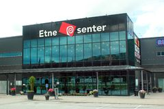 Etne Center, the biggest shopping mall in Etne, Norway stock photography