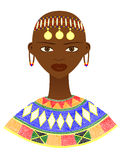 Etnic African woman with traditional jewelry Royalty Free Stock Image
