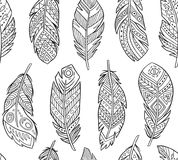 Tribal Feathers in contour endless background. Boho style stock illustration