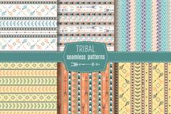 Etnic patterns set. Set of 6 ethnic seamless patterns. Tribal geometric background. Ethno design. Modern abstract wallpaper. Vector illustration Vector Illustration