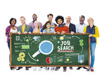 Etnicitetfolk Job Search Searching Togetherness Concept arkivbild