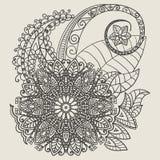 Etniczna Mehndi tatuażu Doodle henna Paisley Kwitnie elementy Fotografia Stock