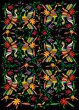 Etniczna Meksykańska makata z hafciarskimi kwiecistymi i pawimi dżungli zwierzętami ręcznie robiony Naiwne druku ludu dekoracje ł ilustracji
