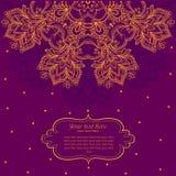 Rocznika zaproszenia karta z koronkowym ornamentem. Zdjęcia Royalty Free
