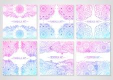 Etniczne kwieciste karty z mandala Zdjęcie Stock