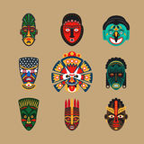 Etniczne maskowe ikony royalty ilustracja