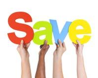 etniczne ręki Trzyma słowa Save obraz stock