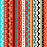 Etnicznego boho bezszwowy wzór Kolorowa rabatowa tło tekstura royalty ilustracja
