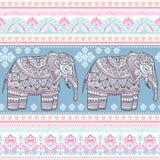 Etnicznego Indiańskiego czecha stylu słonia bezszwowy wzór ilustracja wektor