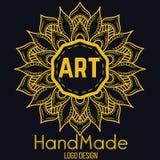 Etnicznego logotypu dekoracyjny element ręka patroszona Zdjęcie Royalty Free