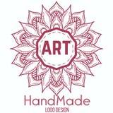 Etnicznego logotypu dekoracyjny element ręka patroszona Fotografia Royalty Free