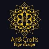 Etnicznego logotypu dekoracyjny element ręka patroszona Obrazy Stock