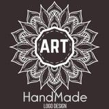 Etnicznego logotypu dekoracyjny element ręka patroszona Zdjęcia Royalty Free