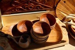 Etniczni drewniani naczynia Zdjęcia Royalty Free