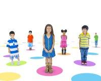 etniczni dzieci Stoi Pojedynczo zdjęcia royalty free