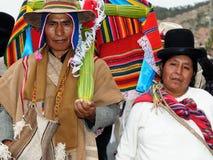 Etniczni ludzie na fiesta w Boliwia Zdjęcia Royalty Free