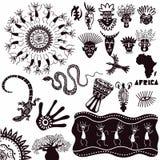 Etniczni ornamenty Africa Kolekcja antyczni znaki odizolowywający na białym tle kresk?wki serc biegunowy setu wektor ilustracja wektor