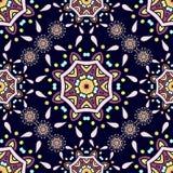 etniczni ornamenty Kwiat kurendy tło piękny deseniowy retro bezszwowy Obrazy Royalty Free