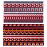 Etniczni wzory na trykotowej tkaninie jaskrawy dekoracyjnych kwiatów stylizacyjny słońce pod wektorem Zdjęcia Royalty Free