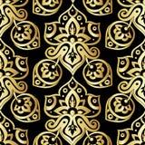 Etniczny bezszwowy wzór w złocie i czerń kolorach Obraz Stock