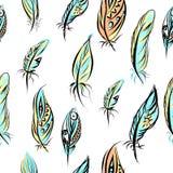 Etniczny bezszwowy wzór z piórkami bezszwowy ilustracji