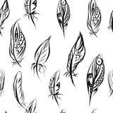 Etniczny bezszwowy wzór z piórkami ethnic royalty ilustracja