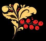 Etniczny dekoracyjny kwiecisty ornament z liśćmi i ashberries ilustracji
