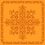 Etniczny dywanik, plemiennego tła Majski symbol, ręka remisów ornament z geometrycznym symetrycznym wzorem ilustracja wektor