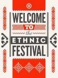 Etniczny festiwalu plakat Typographical projekt z ludu wzoru ornamentem również zwrócić corel ilustracji wektora Zdjęcie Stock
