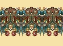 Etniczny horyzontalny autentyczny dekoracyjny Paisley royalty ilustracja
