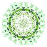 Etniczny kolorowy ornamentu abstrakta zieleni mandala Obraz Stock