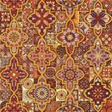 Etniczny kwiecisty mandala bezszwowy wzór kolorowa tło mozaika Obrazy Royalty Free