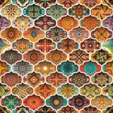 Etniczny kwiecisty mandala bezszwowy wzór kolorowa tło mozaika Fotografia Stock