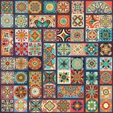 Etniczny kwiecisty mandala bezszwowy wzór kolorowa tło mozaika Obraz Royalty Free