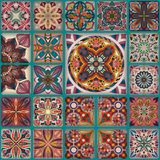 Etniczny kwiecisty mandala bezszwowy wzór kolorowa tło mozaika Fotografia Royalty Free