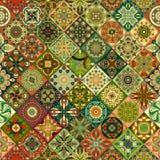 Etniczny kwiecisty mandala bezszwowy wzór kolorowa tło mozaika Zdjęcia Stock