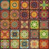 Etniczny kwiecisty mandala bezszwowy wzór kolorowa tło mozaika Zdjęcie Royalty Free