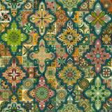 Etniczny kwiecisty mandala bezszwowy wzór kolorowa tło mozaika Zdjęcie Stock