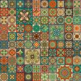 Etniczny kwiecisty mandala bezszwowy wzór kolorowa tło mozaika Obraz Stock
