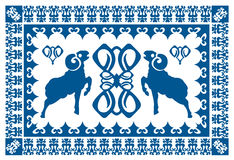Etniczny ornament z stylizowanym aries Obrazy Royalty Free