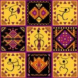 Etniczny ornament z stylizowanymi postaciami Zdjęcia Royalty Free