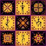 Etniczny ornament z stylizowanymi postaciami Zdjęcia Stock