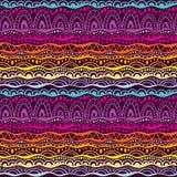 Etniczny plemienny bezszwowy wzór Wręcza patroszonego geometrycznego ornamentu tło w kolorach purpury, menchie i pomarańcze, Dood ilustracji