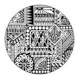 Etniczny plemienny wzór w okręgu Czarny i biały mozaiki mandala pochodzenie wektora abstrakcyjne Pasiasty geometryczny plemienny  royalty ilustracja