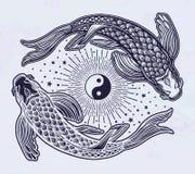 Etniczny rybi Koja karp z symbolem harmonia royalty ilustracja