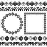 Etniczny set i popularne ramy round, kwadratowi i dividers Zdjęcia Stock