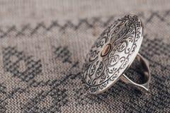 Etniczny srebro pierścionek Fotografia Royalty Free
