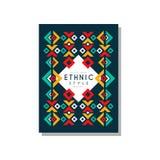 Etniczny stylowy oryginał, kolorowego ethno plemienny geometryczny ornament, modny deseniowy element dla wizytówki, logo ilustracja wektor