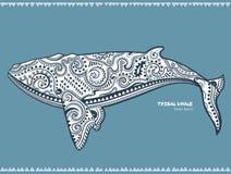 Etniczny wieloryb z plemiennymi ornamentami może używać jako koszulowy druk Fotografia Royalty Free