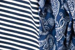 Etnika. Background with fabric striped and blue cloth indian style. New desigion.Denim decoration.Drapery beauty stock photo